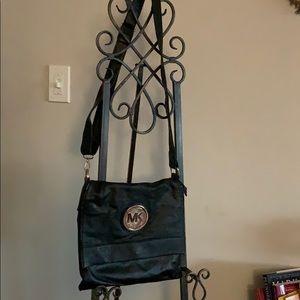 Black Leather Michale Kors Messenger Bag